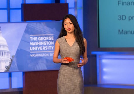 Anna Wu presenting at the 2016 NVC Finals