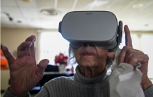 A nursing-home resident in Falls Church, Va., experiences virtual-reality nature scenes.